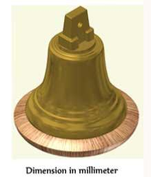 Decorative bronze Bell with Ship's crown
