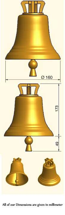 Customized bronze unmounted bell with  traditionnal crown